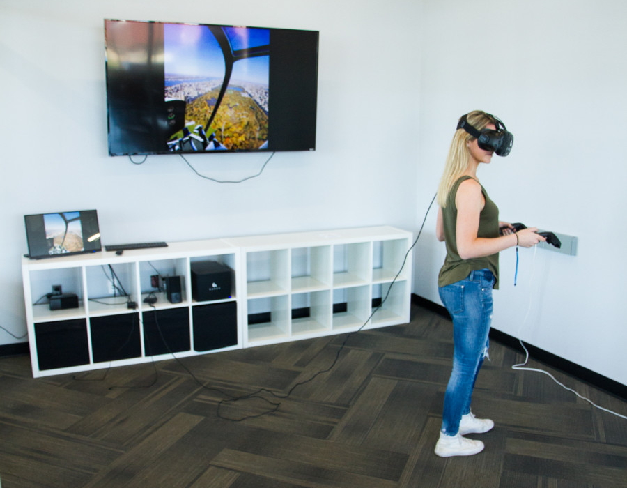 FlyNYON offers a virtual reality helicopter flight experience at its Kearny Point headquarters.
