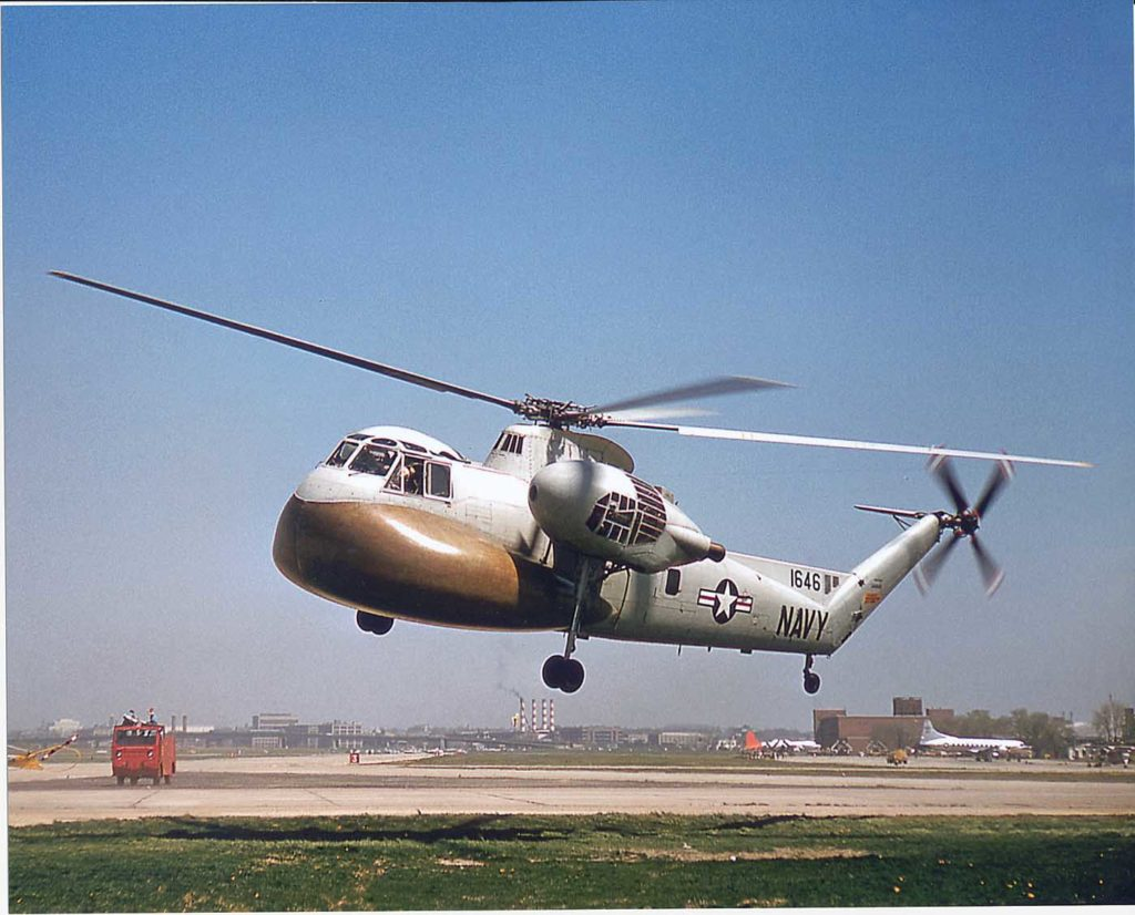 The Navy HR2S-1W helicopter, modified with a large search radome under the nose, was used for radar duties in spotting low flying enemy aircraft. Jeff Evans Collection Photo