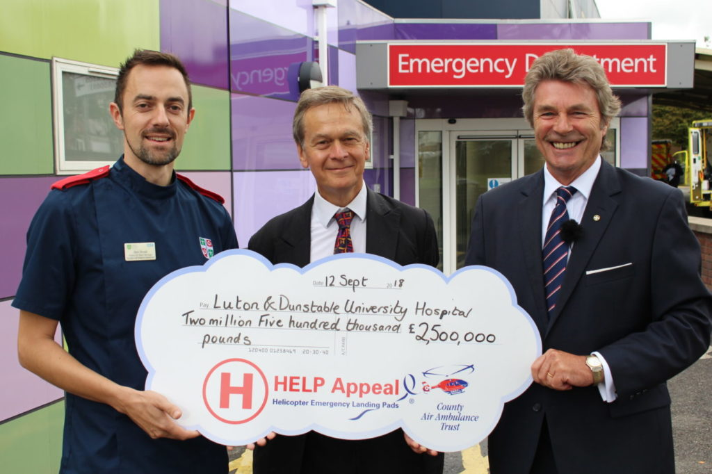 From left: Ben Small, pediatric emergency department unit manager; Simon Linnett, L&D chairman; and Robert Bertram, CEO of the HELP Appeal celebrate the new grand total of the HELP Appeal's donation. HELP Appeal Photo