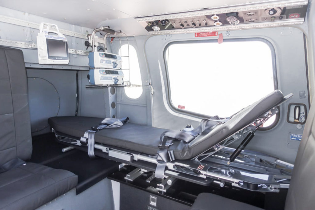 AMS Heli Design's new lightweight EMS interior uses new materials and interior arrangements to provide a weight saving of 103 pounds. AMS Heli Design Photo