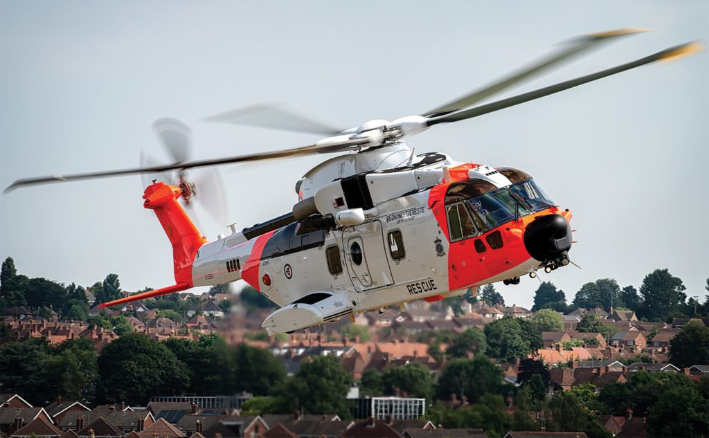 Leonardo test pilot Russ Grant demonstrated the AW101's handling for the cameras. Lloyd Horgan Photo