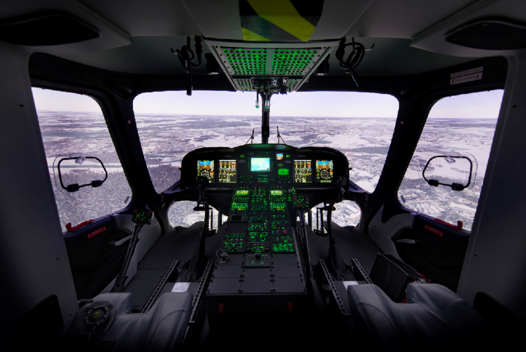 Rockwell Collins' integrated Level D helicopter drome-based complete visual system is now helping civil helicopter pilots train for a wide range of missions. Rockwell Collins Photo