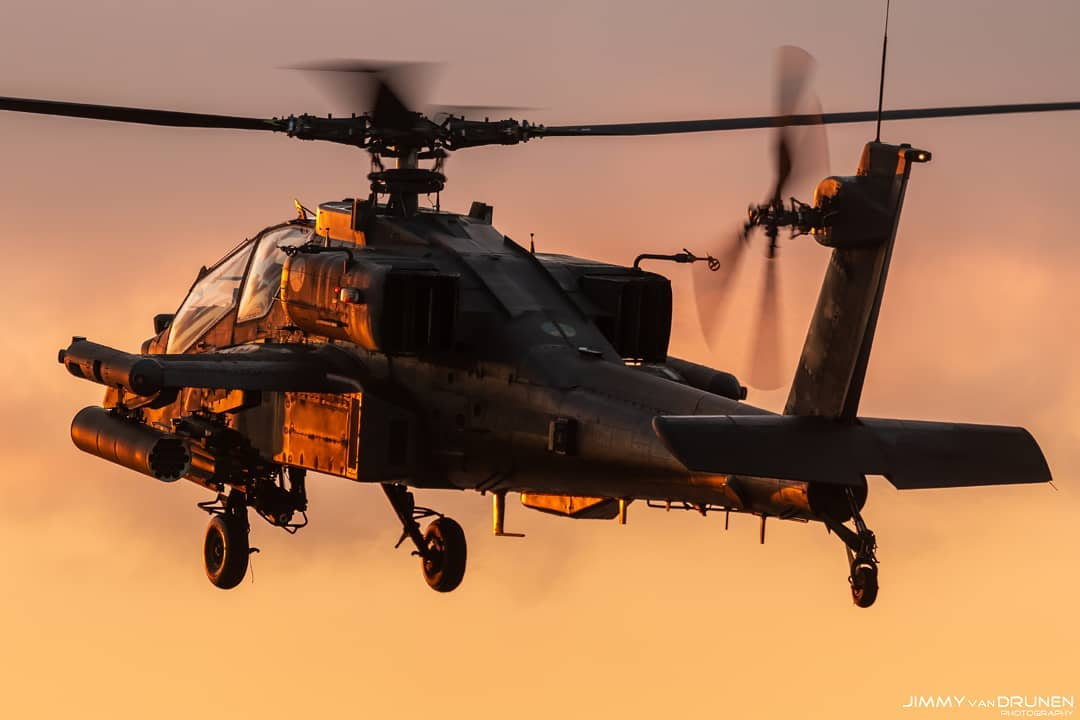 An Apache reflects the glow of a sunset. Photo submitted by Jimmy van Drunen (Instagram user @jimmyvandrunen) using #verticalmag