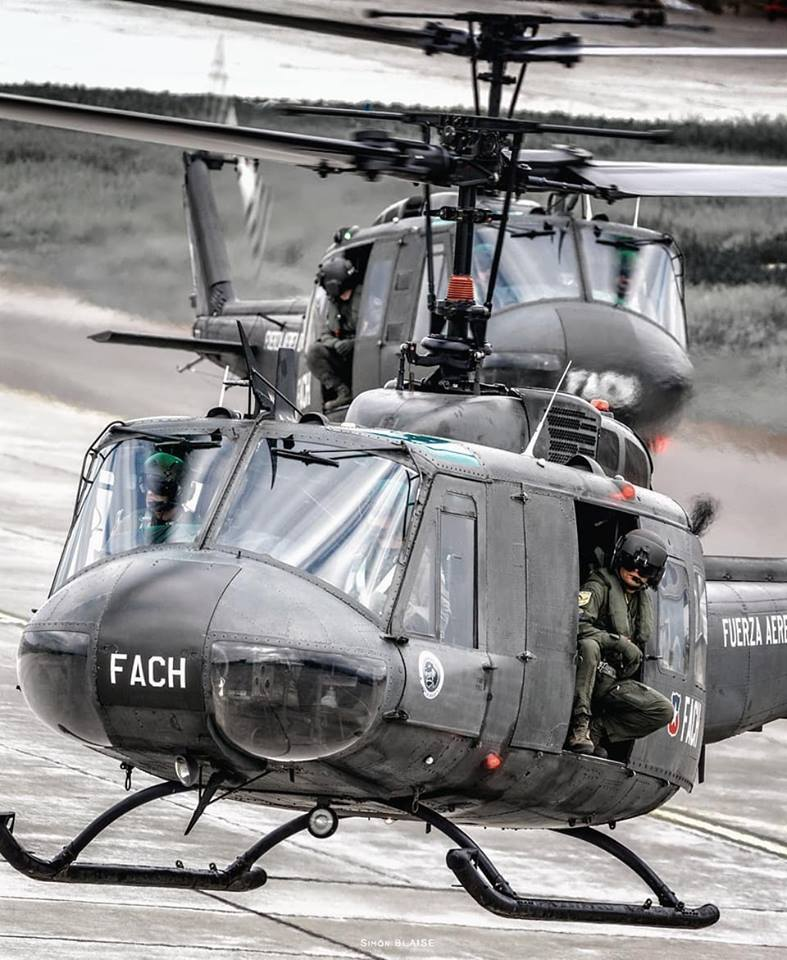 Two Bell UH-1 Hueys operated by the Chilean Air Force are captured returning from a mission. Photo submitted by Simón Blaise Olivera (Instagram user @simonblaise_av) using #verticalmag