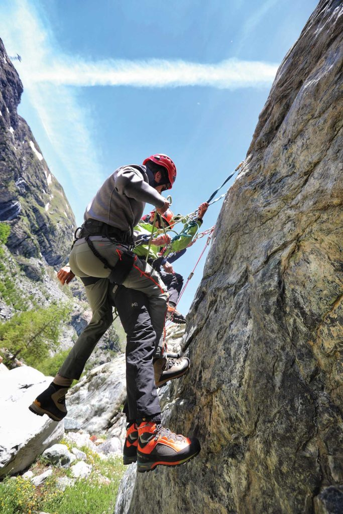 The vertical wall rescue was as real as it gets. Under the supervision of local mountain guides, students released a casualty from an overhanging rock, having spent the previous three days preparing for the event. Tomas Kika Photo