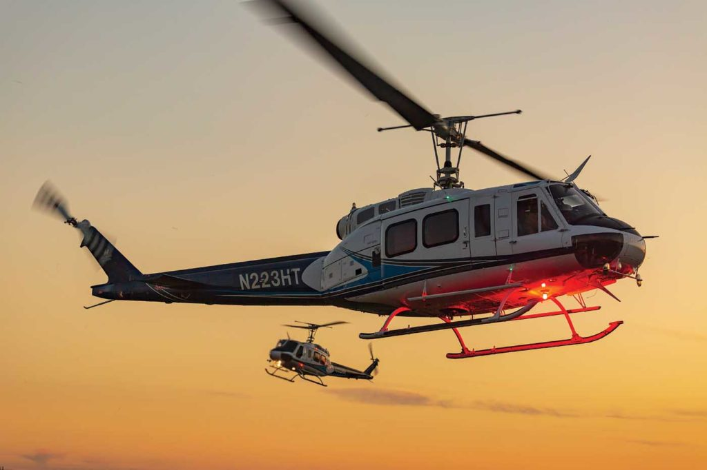 Hillsboro has 13 rotary- and fixed-wing aircraft in its fleet, including four Bell 205 A-1++. These aircraft are well-suited to the aerial firefighting work they perform over much of the summer. Heath Moffatt Photo