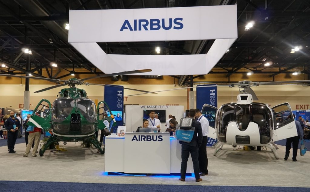 Airbus had an EMS-configured H145 and H130 on display at this year's AMTC 2018. Dayna Fedy Photo