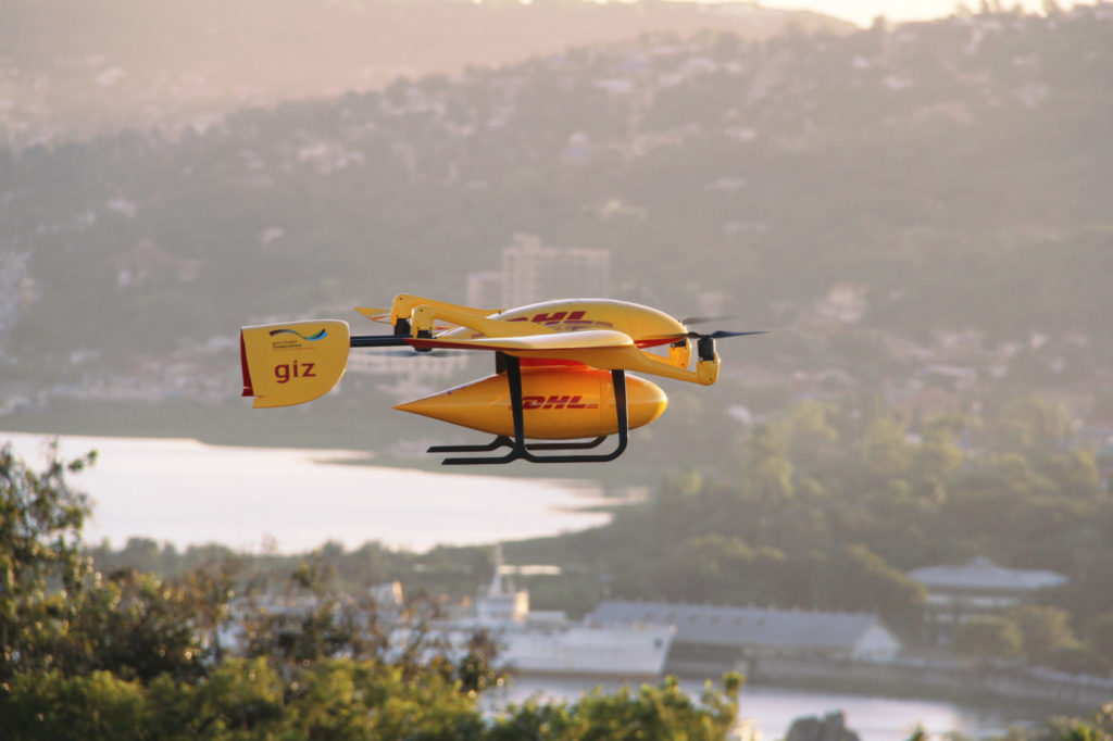 The DHL Parcelcopter 4.0 barely requires any infrastructure as it takes off and lands vertically. Wingcopter Photo