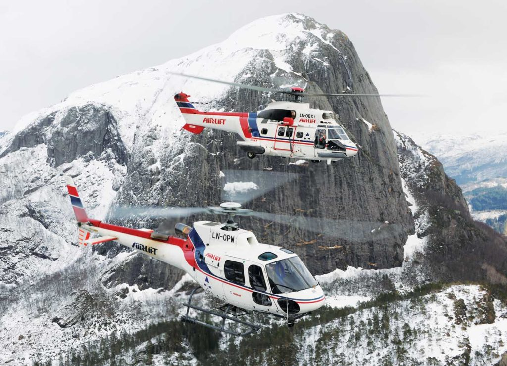 An Airbus AS350 B3 and AS332 C Super Puma belonging to Norwegian company Airlift AS. The utility operator has 14 AStars in its fleet, but just one Super Puma. Anthony Pecchi Photo