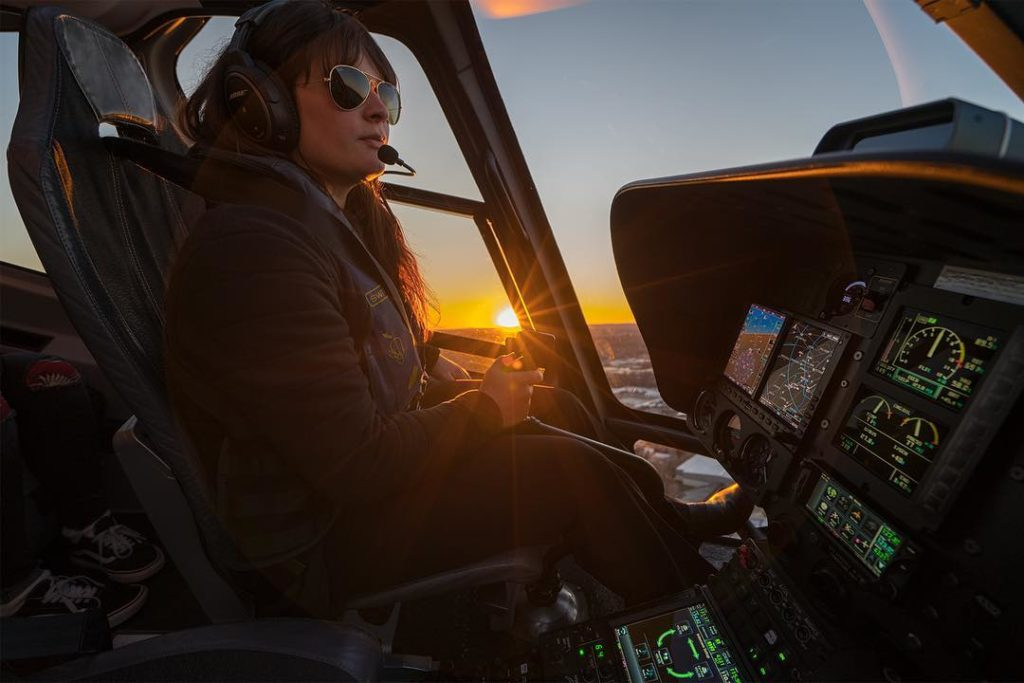 The Reauthorization Act also includes provisions focusing on the need to encourage more women to pursue careers in aviation. Here, Helicopter Flight Services line pilot Cristina Gonzalez Odriozola flies a Bell 407GX high above Manhattan. Aviatrix Life Photo