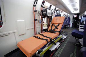 The Allfa stretcher has multiple functions, high ergonomic adjustability and high patient comfort. Heli-One Photo