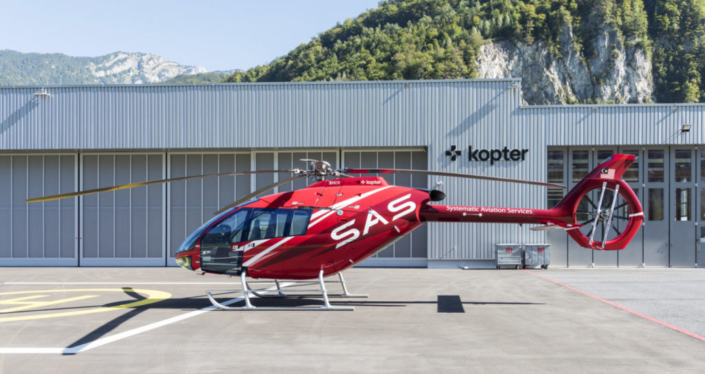 Kopter brought the first prototype of the SH09 to Helitech International 2018 in the livery of newly-announced customer Systematic Aviation Services. Kopter Photo