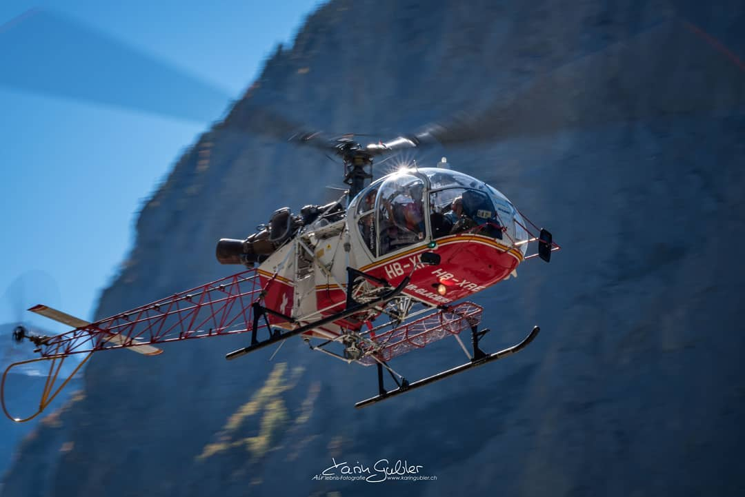 An Aérospatiale SA 315B Lama flies in the livery of Air Glaciers SA. Photo submitted by Karin Gubler (Instagram user @karin_gubler_airlebnisfotos) using #verticalmag