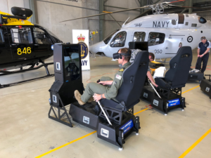 The simulators have motion actuators attached to the base and link with the simulation software to provide an even more realistic experience.
