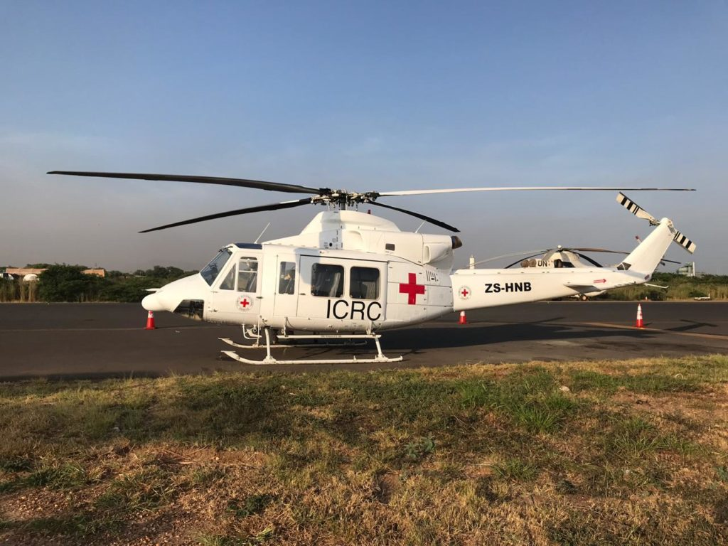 The helicopters are based in Juba and are providing much needed humanitarian support for the International Red Cross.