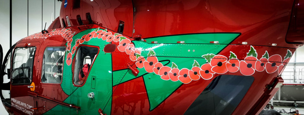 The aircraft has exactly 100 poppies - one for each year since the armistice of WWI. Babcock Photo