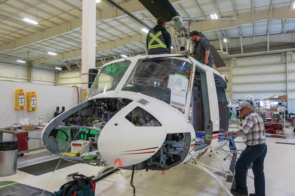 The Bell 212 is time consuming when it comes to rewires, compared to light aircraft like the MD 500.