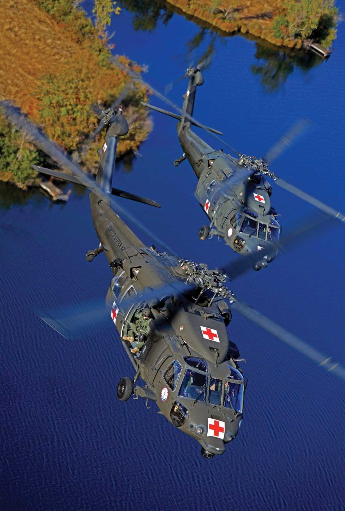 The Army has been flying specialized medevac Black Hawks for more than 30 years. The HH-60M features an advanced medical suite, including integrated suction and oxygen systems; defibrillation, ventilation and incubation equipment; and equipment for monitoring vital signs. Ted Carlson Photo