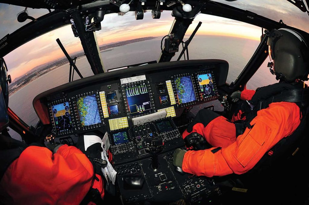 The MH-60T features a common avionics architecture system, including digital glass cockpit instruments similar to those installed on the USCG's fixed-wing aircraft. Skip Robinson Photo