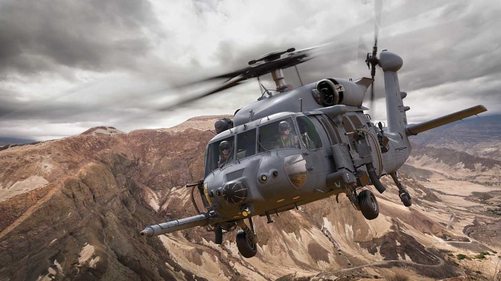 The new generation HH-60W Combat SAR helicopter has advanced avionics and mission systems and an internal fuel capacity of 660 US Gallons (2,500 liters) - double the internal fuel capacity of earlier models. Sikorsky Image