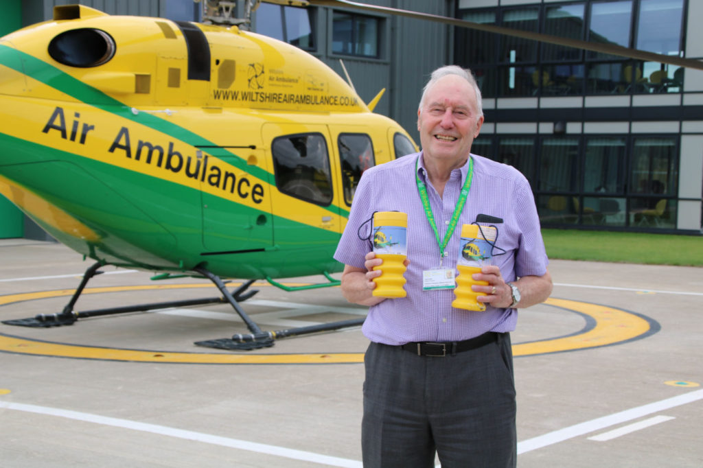 Colin Smith, Wiltshire Air Ambulance's volunteer collection tin coordinator, on the helipad at Wiltshire Air Ambulance's airbase at Semington.