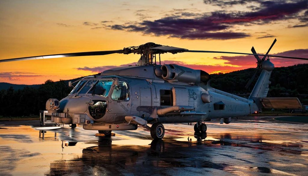 The MH-60R is the most capable ASW and anti-surface warfare helicopter in the world today, equipped with dipping sonar and sonobuoy processing capability. Daniel Rude Photo
