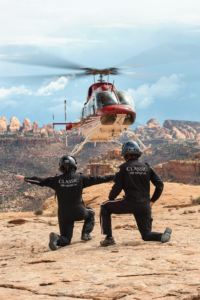 Classic medical crews and pilots are equally at home working from improved helipads or rugged outcroppings like this one near Moab, Utah. Dan Megna Photo