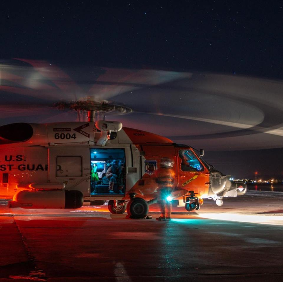 Night ops in the Arctic with a U.S. Coast Guard MH-60T Jayhawk. Photo submitted by Bradley Pigage (@akstache_646 on Instagram) using #verticalmag