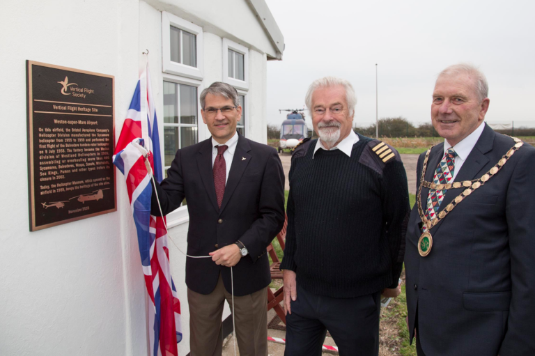 From left to right: Mike Hirschberg, VFS executive director; Elfan ap Rees, Helicopter Museum founder and chair; and David Jolley, chairman of North Somerset Council. VFS Photo