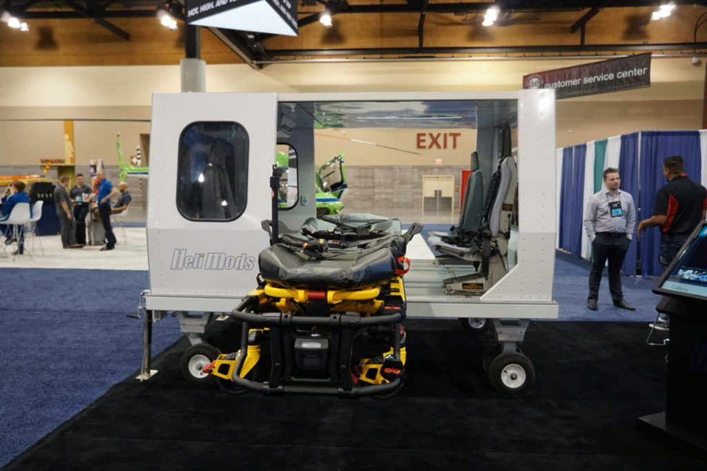 Ornge brought a mockup of an AW139 with Helimods' zero-lift Powered Aero Loader to this year's Air Medical Transport Conference in Phoenix, Arizona. Dayna Fedy Photo