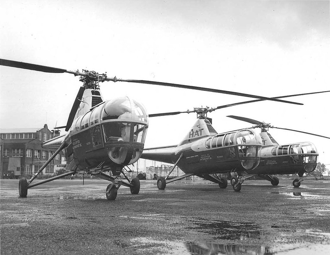 The three Sikorsky S-51 helicopters purchased by Helicopter Air Transport at the Sikorsky Plant in Bridgeport, Connecticut, in 1946. These aircraft represented Sikorsky's first commercial helicopter sales. Sikorsky Archives Photo