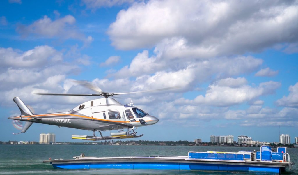 ILandMiami's marine utility vessel (MUV) can accommodate helicopters up to 7,000 pounds. Pictured is Leonardo's AW119Kx landing on an MUV. Leonardo Photo