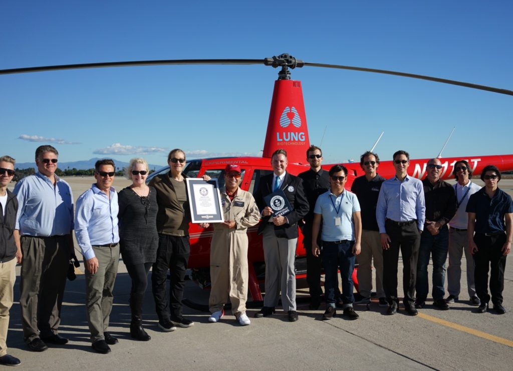 The team behind the aircraft celebrates their recent Guinness World Record.