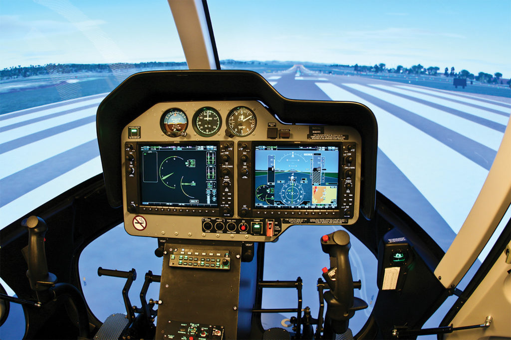 HFTC's Bell 407 FTD can be configured with either a traditional analog instrument panel, or the Garmin G1000-equipped panel on the Bell 407GX. Guy Maher Photo