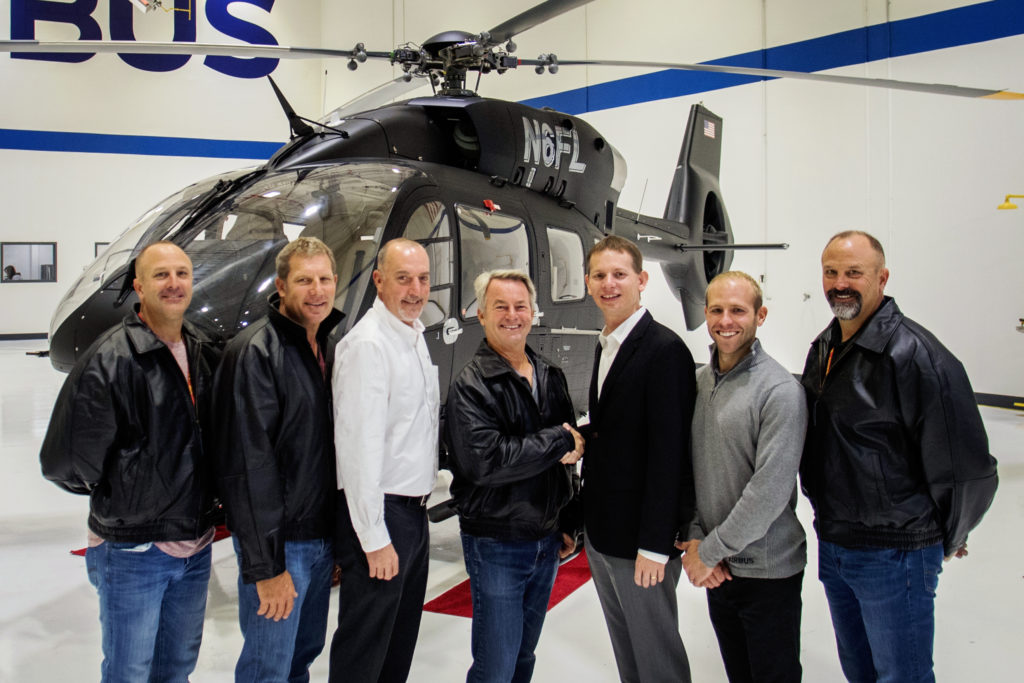 From left: Mark Hulsey; Jon Corn; Michael O'Connor, Airbus Helicopters, Inc.; Fred Luddy, founder of Service Now and SoCal Air Services;  Romain Trapp, Airbus Helicopters, Inc. COO; Travis Tinsey, Airbus Helicopters, Inc.; Mike Hulsey. Airbus Photo