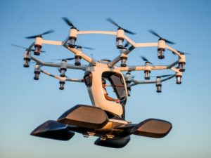LIFT Aircraft's Hexa resembles a large drone with 18 sets of propellers, motors and batteries. LIFT Photo