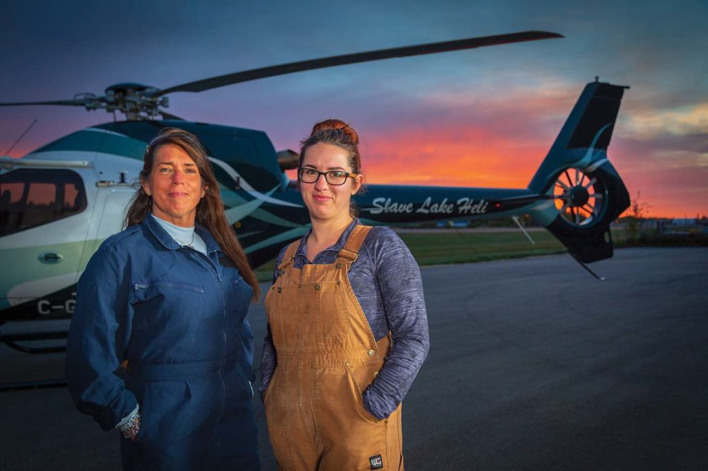 Andrea and Marianne Pelletier make an all-too rare mother-and-daughter team in the industry. Marianne recently joined Slave Lake Helicopters as an aircraft maintenance engineer. Heath Moffatt Photo