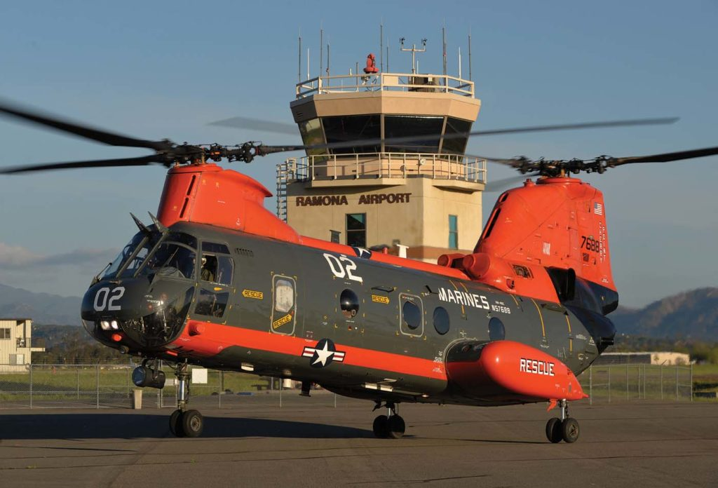 Classic Rotors' Boeing-Vertol HH-46E lands after a cross country flight from MCAS Cherry Point, where it had been flown as a base search-and-rescue aircraft. After some inspections, the helicopter will take to the sky again. Skip Robinson Photo