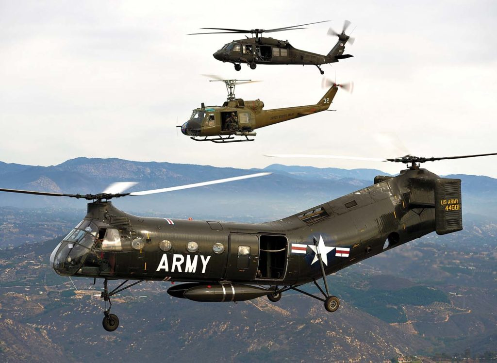 In 2013, Vertical took part in a historic flight of three generations of U.S. Army medium lift helicopters: Classic Rotors' Piasecki CH-21B Workhorse, Wings and Rotors' Bell UH-1B Huey, and a Sikorsky UH-60 from the California Army National Guard. Skip Robinson Photo
