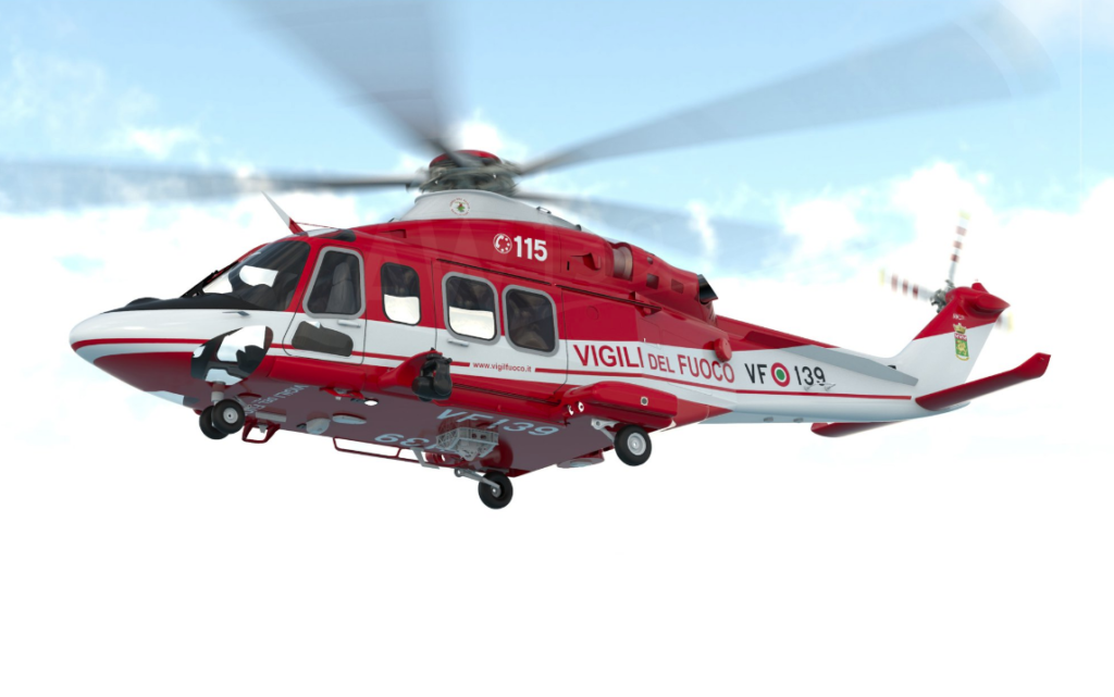 The seven-tonne AW139s of the Italian National Fire Corps are expected to progressively replace their AB412 helicopters
