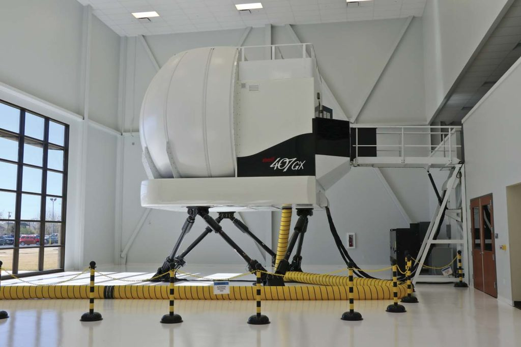 Training is significantly enhanced for any variant of the 407 through the use of the full motion simulator at the Bell Training Academy. Guy R. Maher Photo