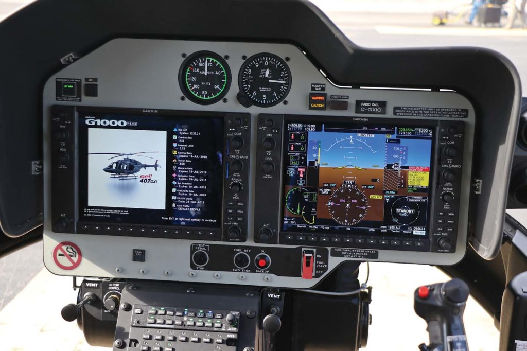 The Garmin G1000H NXi Integrated Flight Deck avionics system is the command center of the Bell 407GXi. The 407Xi's standard configuration includes the synthetic vision system, and initial installation of the helicopter terrain awareness and warning system and navigation database. Guy R. Maher Photo