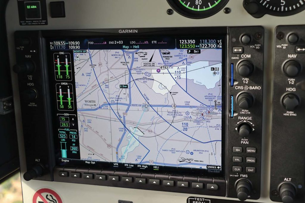One of the more significant changes to the G1000 NXi that is incorporated in the 407GXi is the inclusion of charts - both visual flight rules (VFR) and instrument flight rules (IFR). Guy R. Maher Photo