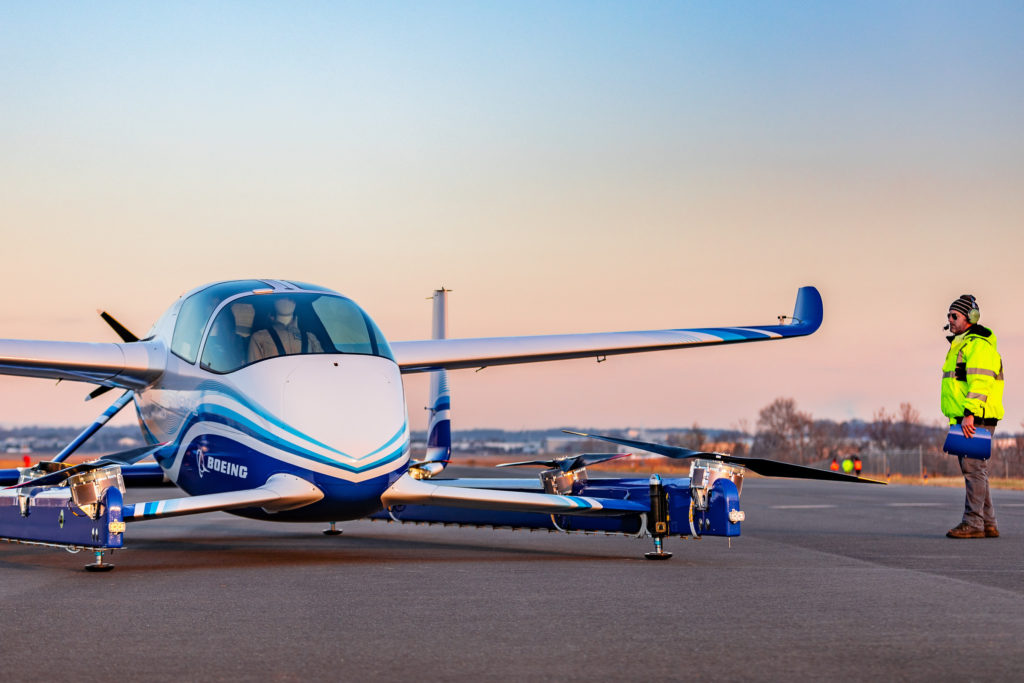 Powered by an electric propulsion system, Boeing's PAV prototype is designed for fully autonomous flight from takeoff to landing, with a range of up to 50 miles. Boeing Photo