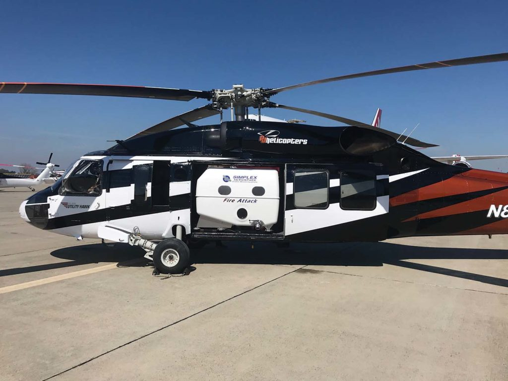 Simplex Aerospace is developing two internal tanks for the Black Hawk - an 850-US gallon (3,220-liter) and a 1,000-US gallon (3,785-liter) model. Simplex Photo