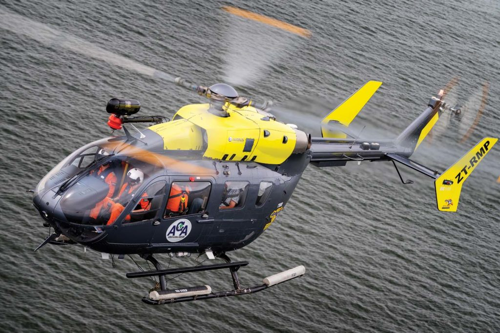 AGA uses an EC145 for most of its offshore missions. The aircraft has an offshore range of up to 100 nm, which allows for around 25 minutes of loiter time, plus fuel reserves. Lloyd Horgan Photo