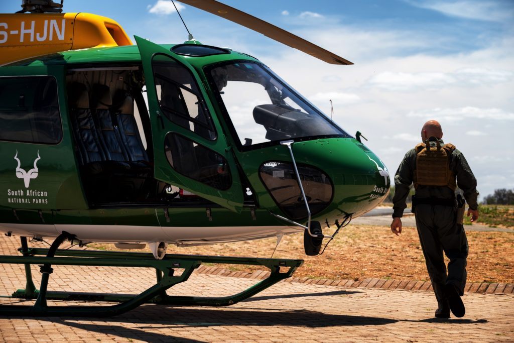 SANParks chief pilot Grant Knight prepares for an anti-poaching mission.