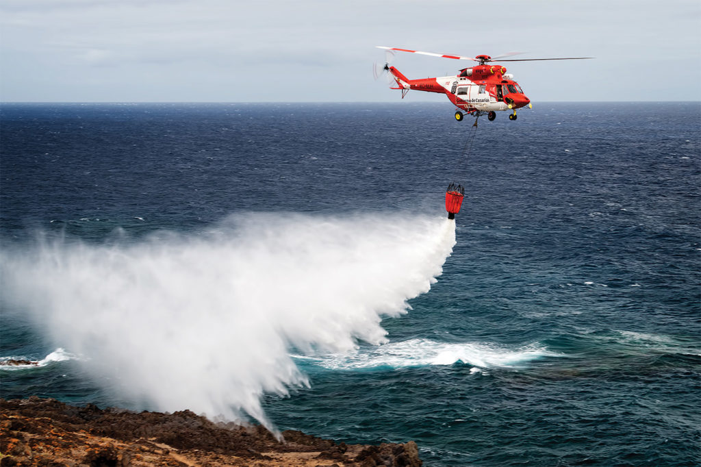 GES uses the W-3 Sokół with a 1,600-liter Bambi Bucket to fight fires on the Canary Islands, in addition to performing SAR missions. Lloyd Horgan Photo