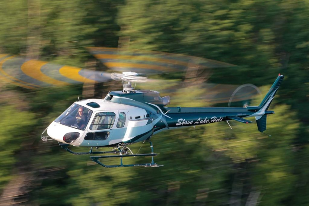 Slave Lake Helicopters has seven aircraft in its fleet: two Airbus H125s, three AS350 B2s, one H120, and one Bell 206 Jet Ranger. Mike Reyno Photo