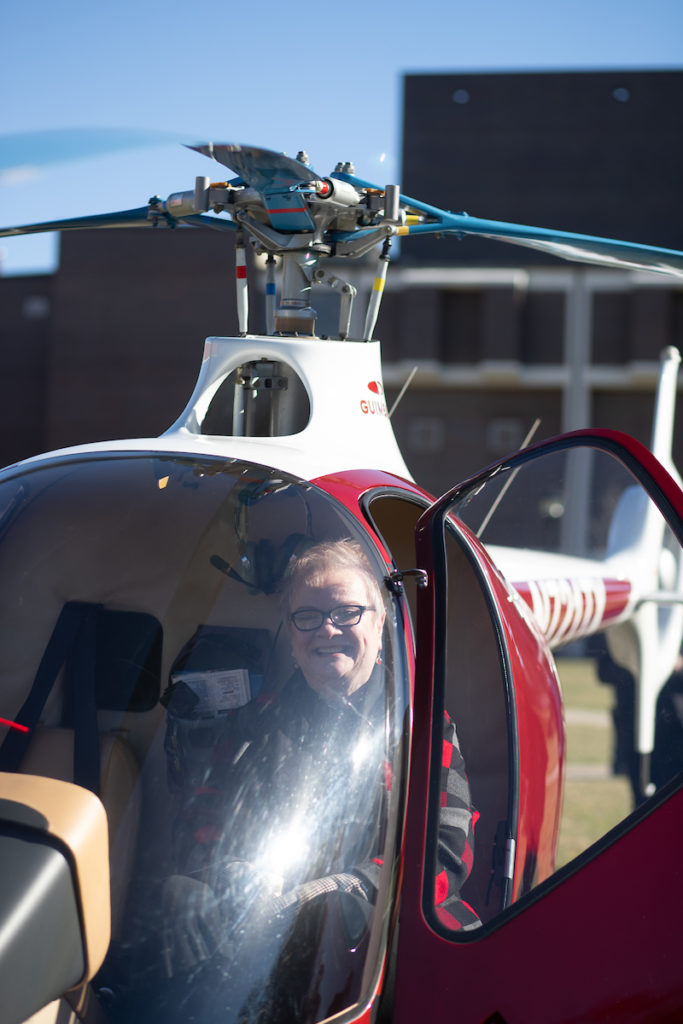 APSU president Alisa White sits in the cockpit of GOV 1, a Guimbal Cabri G2, after the aircraft landed on campus. APSU Photo